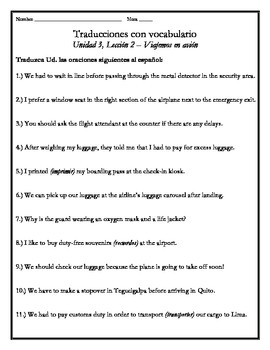 Avancemos 4 - Unit 3 Lesson 2 Translations Worksheet with