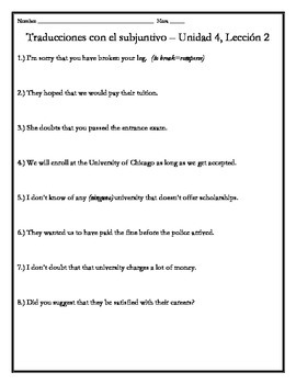 Avancemos 4 - Unit 4 Lesson 2 Translations Worksheet with