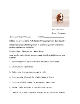 Avancemos 4 Unit 5 Lesson 1  Conditional Perfect- Speaking & Writing Exercise