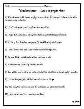 Avancemos 4 - Unit 5 Lesson 1 Translations Worksheet w/Vocab & Subjunctive