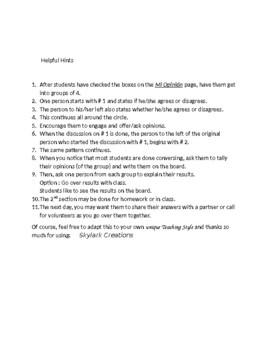 Avancemos 4 Unit 6 Lesson 1 Mi Opinion   Survey and Discussion activity