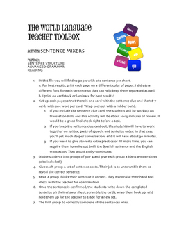 Avancemos 4 Unit 6 Lesson 1 Sentence Mixer
