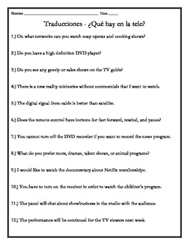 Avancemos 4 - Unit 6 Lesson 1 Translations Worksheet with