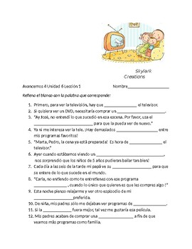 Avancemos 4 Unit 6 Lesson 1 Vocabulary Fill-in