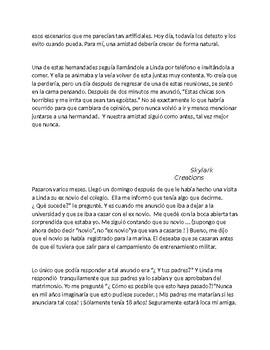 Avancemos 4 Unit 6 Lesson 2  Reading Comprehension Amigas por Vida