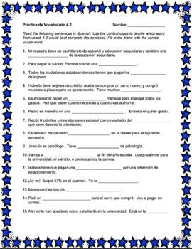 Avancemos 4 Vocabulary Activities Bundle