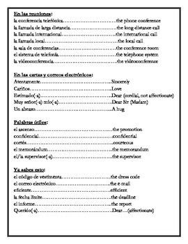 Avancemos 4 - Vocabulary Lists through Unit 6, Lesson 1
