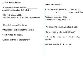 Avancemos 5.2 verb cheat sheet