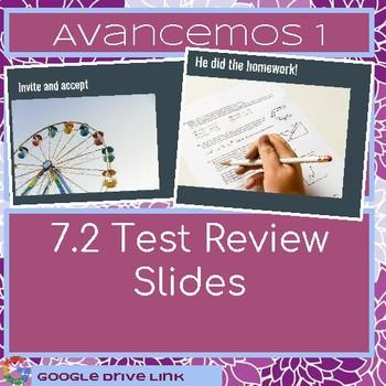 Avancemos 7.2 Test review slides or task cards