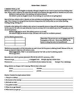 Avancemos (Book 1) Unidad 8 Review Sheet