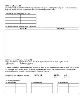 Avancemos (Book 2) - Leccion Preliminar Review Sheet