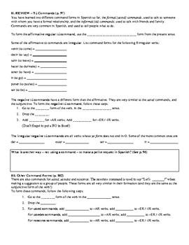 Avancemos (Book 3) Unidad 2 Review Sheet