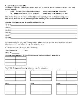 Avancemos (Book 3) Unidad 7 Review Sheet