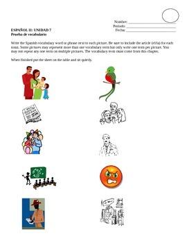 Avancemos 2, Unit 7 Vocabulary Quiz