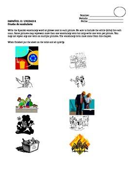 Avancemos 2, Unit 8 Vocabulary Quiz