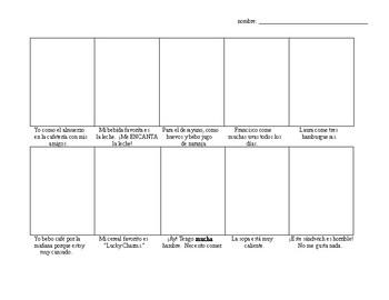 Avancemos Level 1, Unit 3-1 comic strip vocab drawing activity