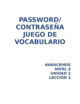 Avancemos Level 2 Unidad 1 Lección 1 Vocab Password Game