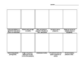 Avancemos Level 2, Unit 1-1 comic strip vocab drawing activity