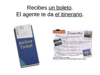 Avancemos Level 2, Unit 1.1 Vocab Presentation Powerpoint (Spanish - Air Travel)