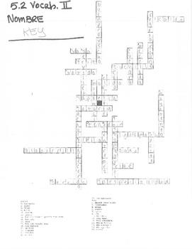 Avancemos Level 2 Unit 5 Lesson 2 Vocab. Crossword