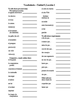 Avancemos Level 3 Vocabulary Lists (CHAPTERS 1.1 - 8.2)