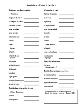 Avancemos Level 2 Vocabulary Lists with Bible Verses