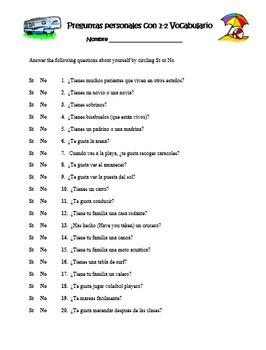 """Avancemos Level 3: Unidad 1 """"Preguntas personales con el vocabulario"""""""