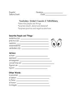Avancemos Level 3 Unidad 4 Leccion 2 VoBACKulary List