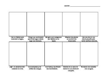 Avancemos Level 3, Unit 1-1 comic strip vocab drawing activity