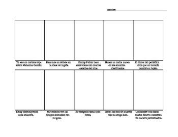 Avancemos Level 3, Unit 2-2 comic strip vocab drawing activity