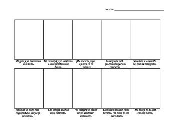 Avancemos Level 3, Unit 5-2 comic strip vocab drawing activity