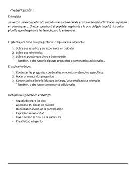 Avancemos 4  Unit 1 Lesson 1 La Solicitud  Application & Questions w/ vocabulary
