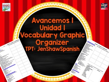 Unidad 1 Spanish Vocabulary List Chart Avancemos U1