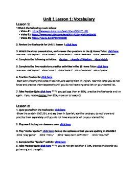 Avancemos 1 Unit 1 Lesson 1 Vocabulary Internet Activities