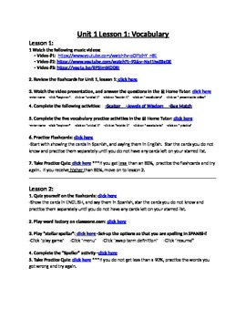 Avancemos 1 Unit 1 Lesson 1 Vocabulary Internet Activities