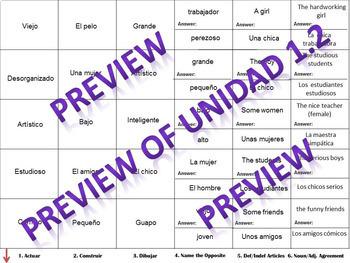 Avancemos 1: Unit 1 Lesson 2 - Cranium Review - Fun Chapter Review