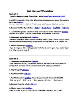 Avancemos 1 Unit 1 Lesson 2 Vocabulary Internet Activities