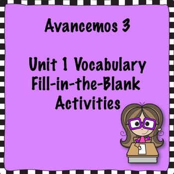 Avancemos 3 Unit 1 Vocabulary Activity