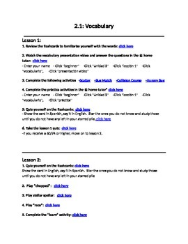 Avancemos 1 Unit 2 Lesson 1 Vocabulary Internet Lesson