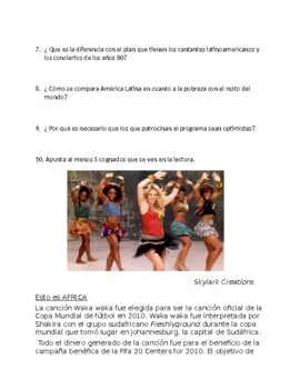 Avancemos 3 Unit 2 Lesson 2  Reading Comprehensions & Songs / Good causes