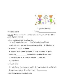 Avancemos 3 Unit 3 Lesson 1 Survey and Speaking  Activity
