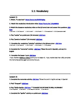 Avancemos 1 Unit 5 Lesson 1 Vocabulary Internet Activities