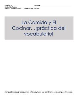 Avancemos level III Unidad Preliminar food and cooking voc