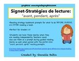 Signets- Avant, Pendant, Après-Stratégies de lecture- Reading Strategy Bookmarks
