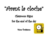 Avant la cloche/End of the day Task List for the French Im