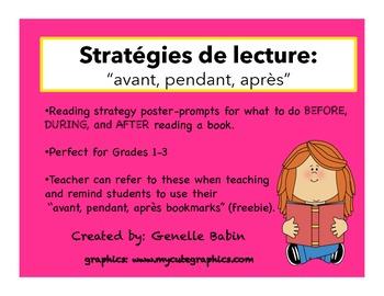 Avant, pendant, après affiches de stratégies- Reading Strategy Poster