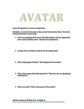 Avatar Viewing Guide w/Age of Imperialism Comparison