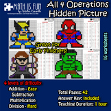 Avengers 1- Mystery Picture - 4 operations - Four level difficulty