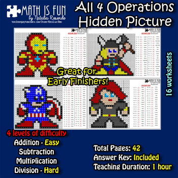 Avengers 2 - Mystery Picture - 4 operations - Four level difficulty