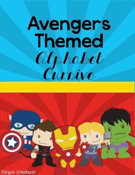 Superhero Avengers Alphabet- in Cursive